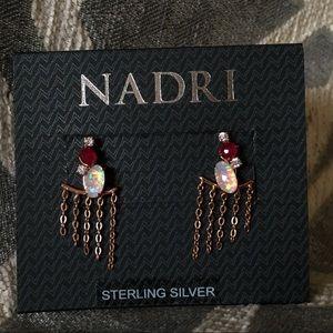 Nadri Rose Gold Fizzy Drop Back Ear Jacket Studs